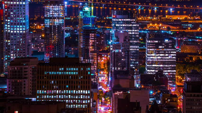 Montreal City At Night Time Lapse 4k 1080, Timelapse of Montreal shot from Mont Royal