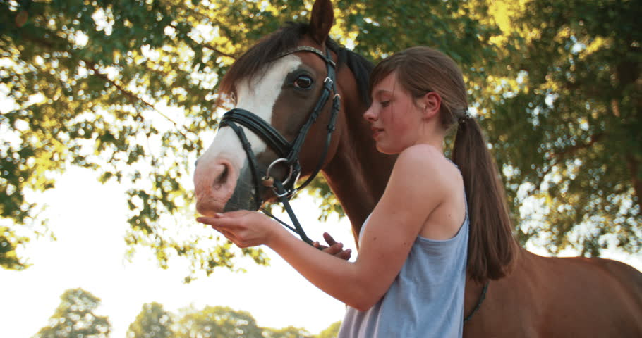Low angle shot of a teen girl giving horse a treat with leafy green trees in the background #11111285