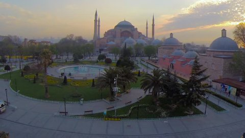 Hagia Sophia Mosque Istanbul Turkey Flying Over at Sunrise