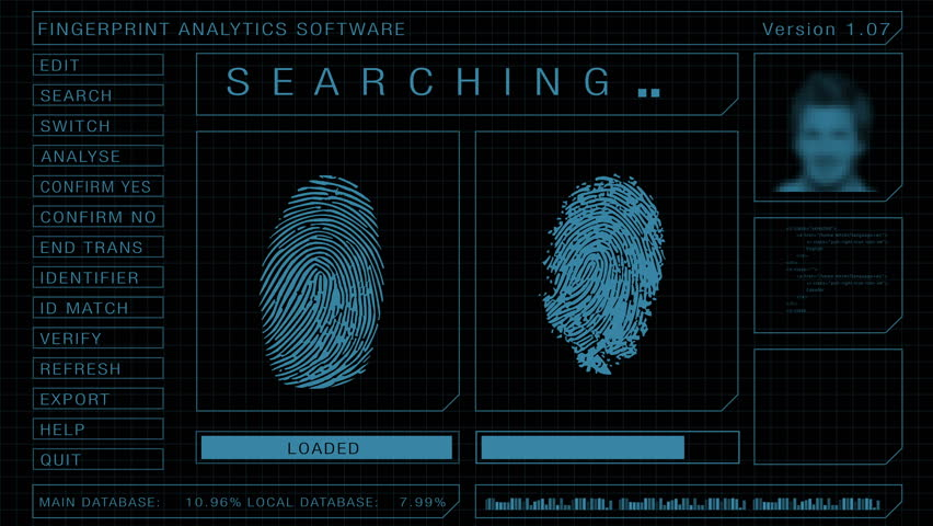 Fingerprint forensic search and scan software graphic user interface, match found animation