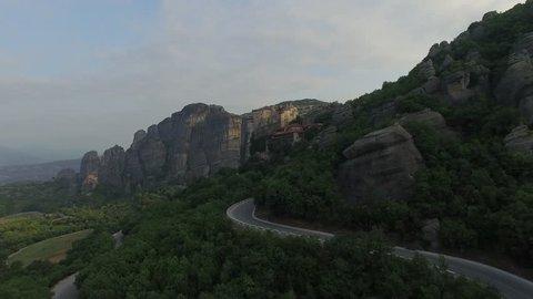 Reaching Meteora Monastery Aerial