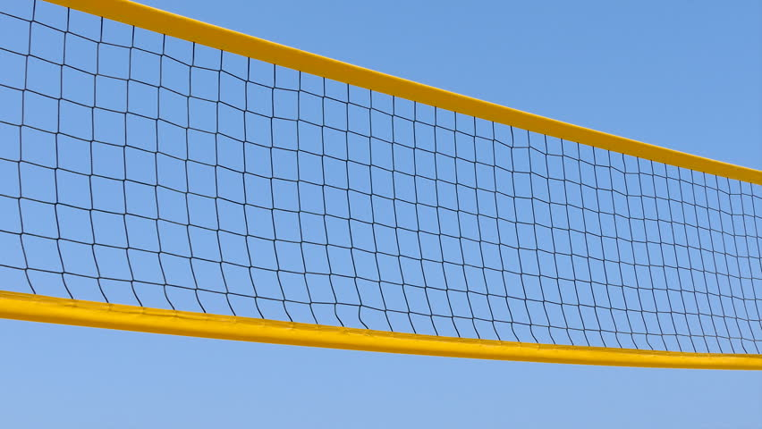 Background Abstract Sport Volleyball Blue Yellow Ball: Volleyball Rotating On Blue Background, Loop Animation