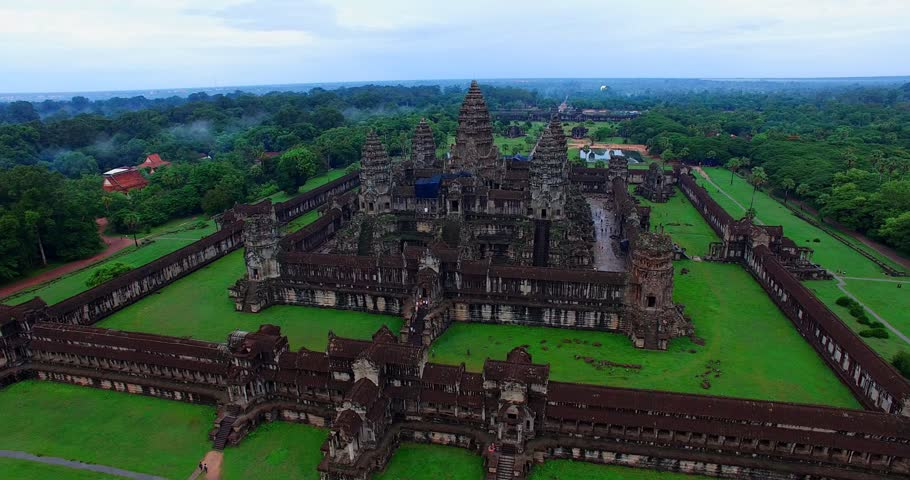 SIEM RIEP,CAMBODIA - CIRCA July 2015 :4k pan and aerial flight towards Angkor Wat #11139128