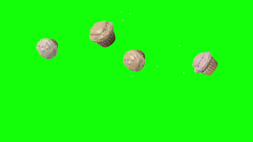 Cupcakes bouncing on green screen background - looping animation #11177681