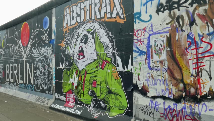 BERLIN, GERMANY - JULY 2015: Art at the Berlin Wall - East side gallery, Germany.