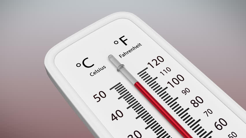 Temperature on the thermometer drops. Animation of mercury dropping in thermometer. Mask for thermometer included.