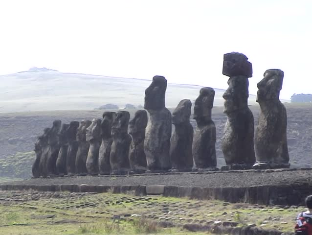 3-shots of Moai Statues on Easter Island, South Pacific.