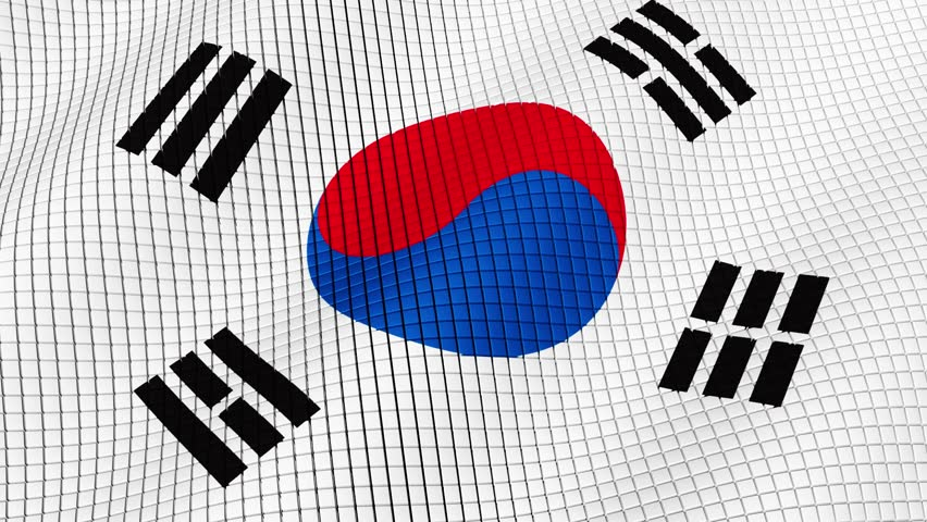Flag of South Korea is developing waves. Looped. Full HD 1080.