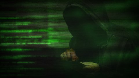 Unrecognizable faceless hooded cyber criminal using digital tablet computer to access deep web internet page, p2p, piracy or network security concept, 1920x1080, 1080p full hd footage