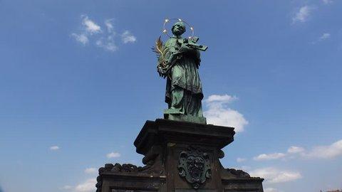 Statues of saints on the Charles Bridge in Prague. Czech Republic. Shot in 4K (ultra-high definition (UHD)).