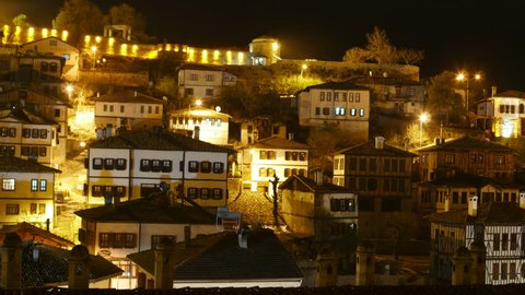 Night Timelapse, Traditional Ottoman Anatolian Village, Safranbolu, Turkey, zoom in