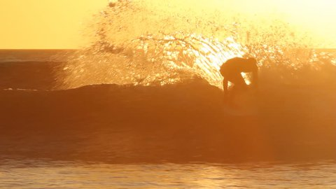 Surfer at sunset. Playa Grande, Costa Rica.