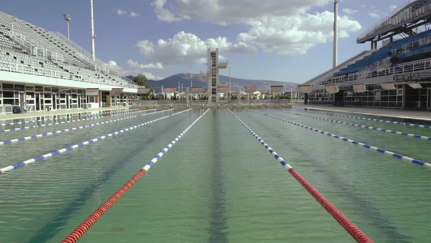 editorialaugust 20154k greek olympic stadium swimming pool real time videowide shots - Olympic Swimming Pool 2015