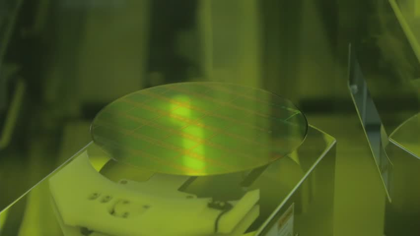 Stock Semiconductor Testing : Silicon wafer testing in a semiconductor manufacturing