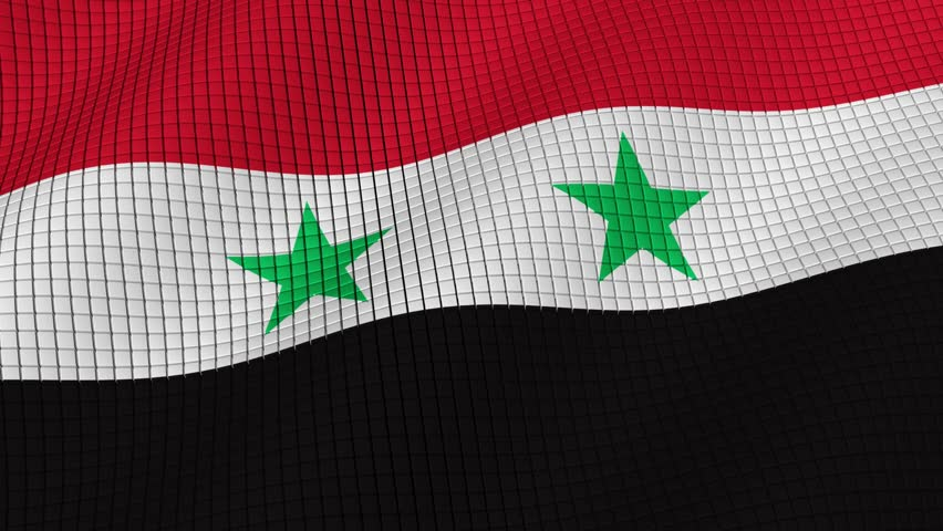 Flag of Syria is developing waves. Looped. Full HD 1080.