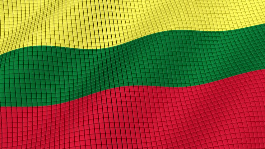 The flag of Lithuania is developing waves. Looped. Full HD 1080.