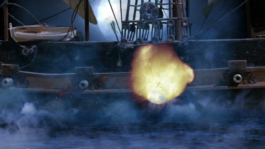 Pirate Colonial Sailboat at Night Firing Cannon Balls at War Close Up, 4K