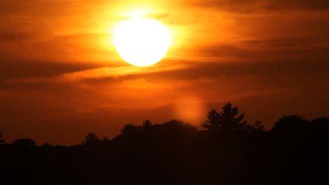 Mellow and fire orange summer sunset. Time lapse. Sun sets behind tree. Muskoka, Ontario, Canada.