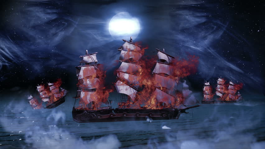 Three Pirate Colonial Sailboat at War on Fire and Sinking into the Sea