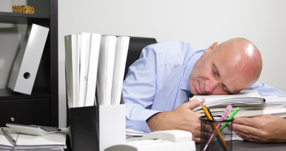 Accounting Office Desk Files Sleepy Businessman Late Working Wake Cellphone Call Ultra High Definition