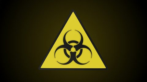 Rotating triangular biohazard sign. Loop ready animation with mask included.