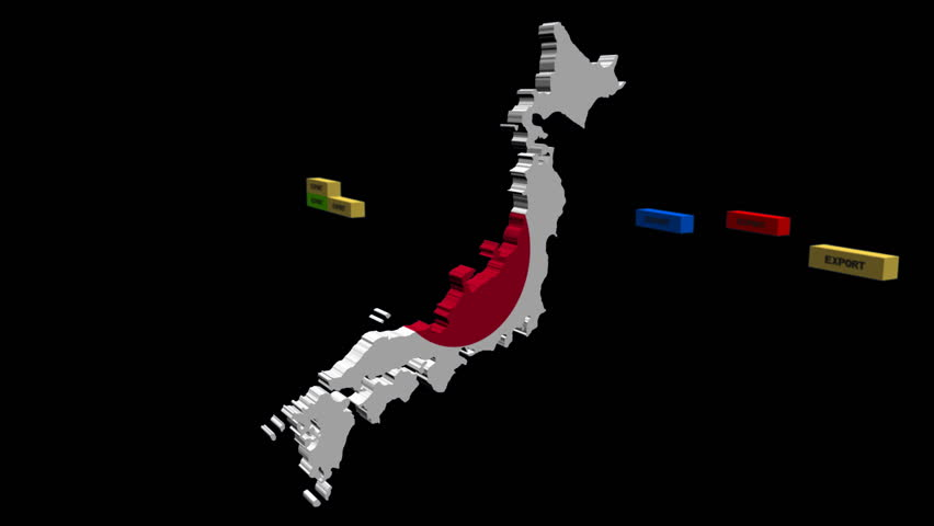 Japan Map With Stacks Of Export Containers Animation Stock Footage - Japan map hd
