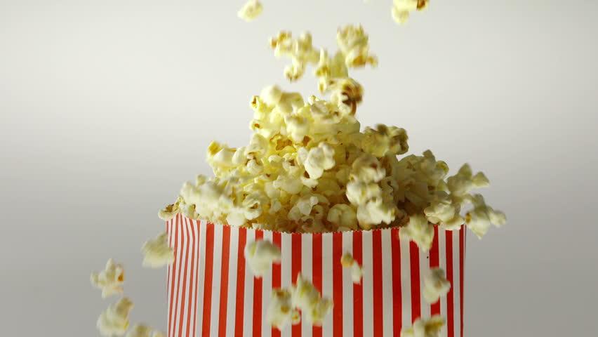 180fps Super Slow Motion Popcorn Falling Inside Vintage Bag | Shutterstock HD Video #11487716
