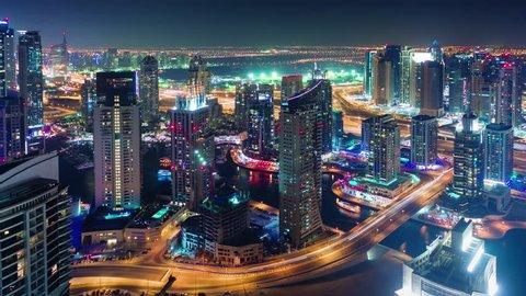 dubai marina roof top construction city panorama 4k time lapse uae
