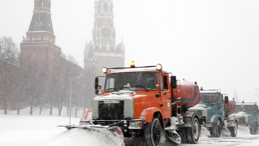 MOSCOW - FEBRUARY 2: Municipal units with plows remove snowfall near Kremlin, February 2, 2010 in Moscow, Russia. February 2010 was the most snowy month for Moscow in 40 years.