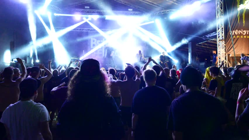 TOLMIN, SLOVENIA - JULY 24: Moshpit on a Betraying The Martyrs concert at the Metaldays festival on July 24, 2015 in Tolmin, Slovenia.