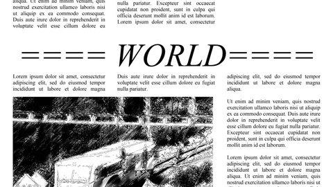 Scrolling newspaper with Lorem Ipsum text, seamless loop video 4k UHD