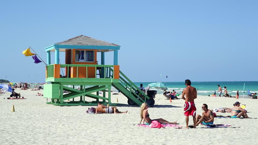 Art Deco Style Lifeguard Hut On South Beach Ocean Drive Miami