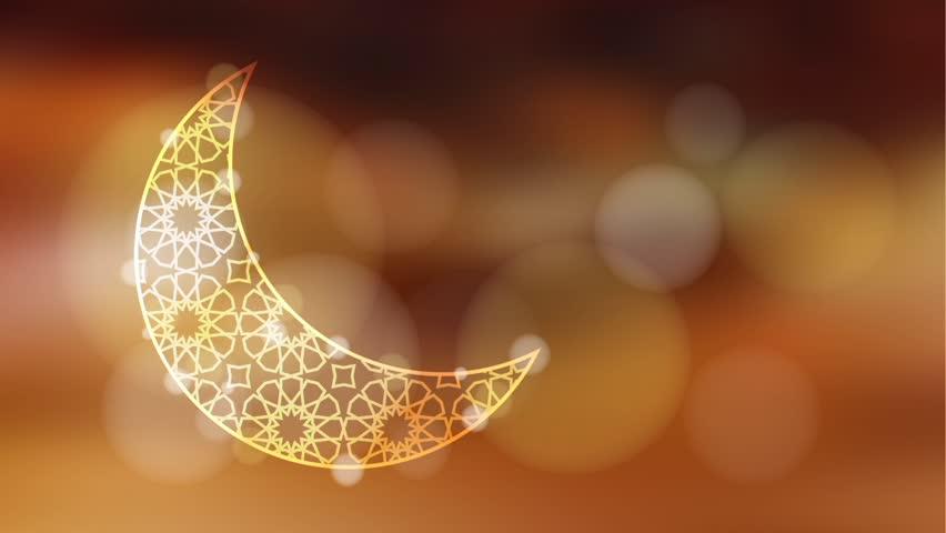 Glittering ornamental moon with bokeh effect, loopable Ramadan graphic animation
