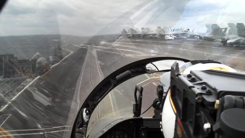 POV fighter jet takeoff. FA-18 takeoff from aircraft carrier. POV with natural audio.