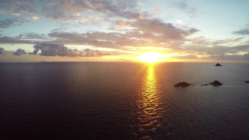 4K Scenic aerial sunset, Carribean paradise. Scenic aerial sunset in St. Barth. Carribean paradise. Shot with GOPRO HERO BLACK in 4K UHD. | Shutterstock HD Video #11609978