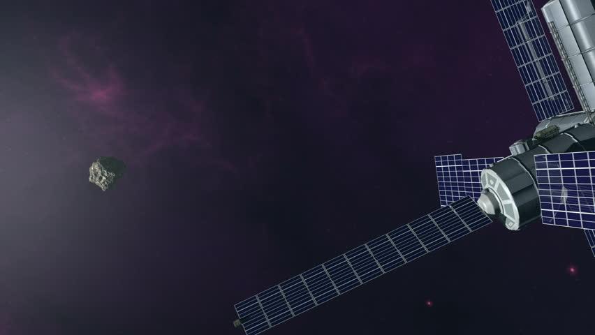 Futuristic exploration of flying into orbit around earth 4K. 3d rendering. | Shutterstock HD Video #11621663