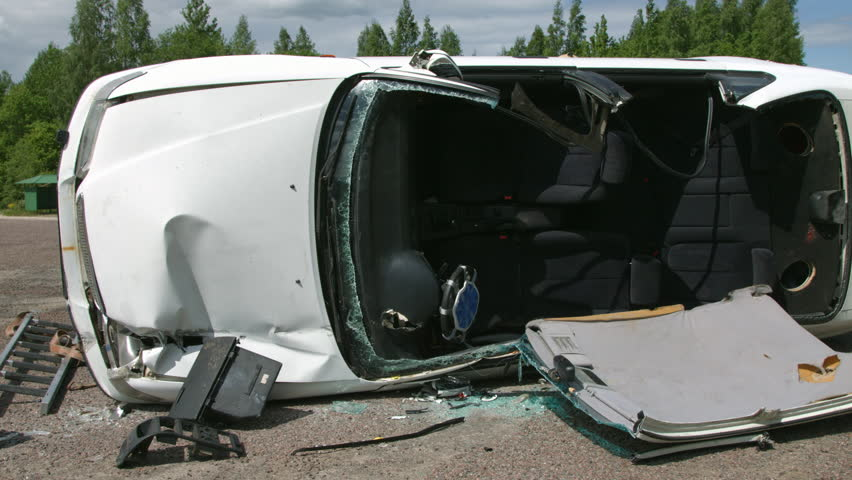 crashed car on the road fatal car accident