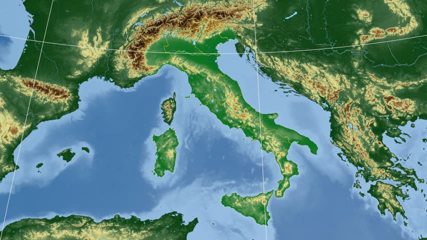 Lombardia region extruded on the physical map of Italy. Rivers and lakes shapes added. Colored elevation data used. Elements of this image furnished by NASA.