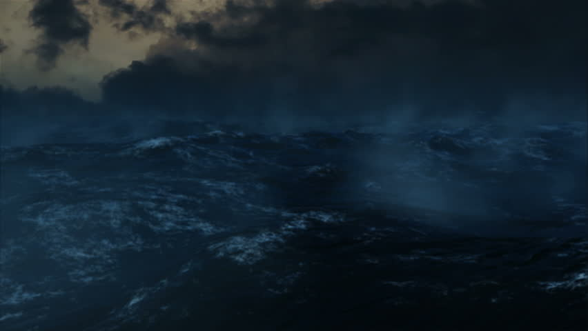 Rough waters and lightning create ominous atmosphere.   (3d animation)