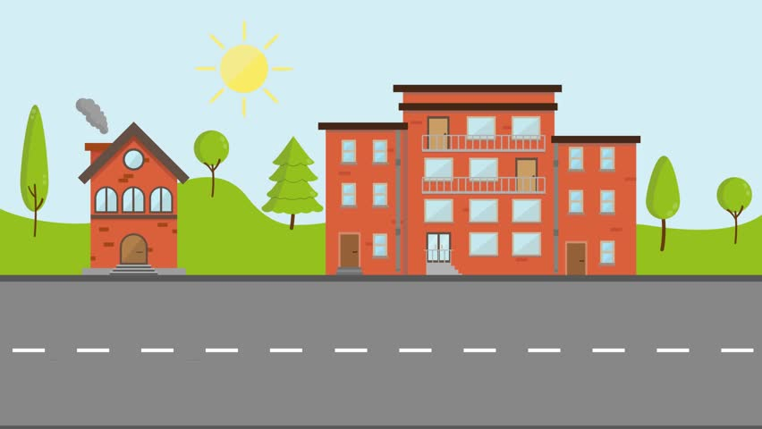 Flat Cartoon Panoramic City Town Suburb Day With