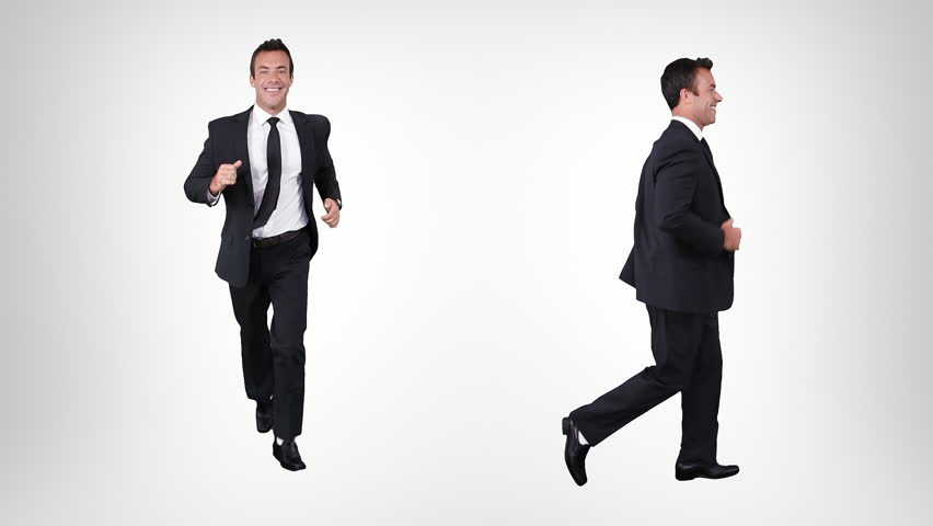 Young businessman running over white background. Alpha matte. 2 in 1. Lateral and frontal view. More options in my portfolio.