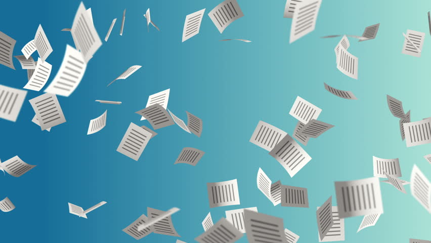 Animation flying paper documents with icon on cover. Business movie or movie about technology of computers and internet. Animation of seamless loop. | Shutterstock HD Video #11714318