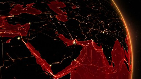 Earth connections. Middle East. Aerial, maritime, ground routes and country borders. Animation of the Earth with bright connections. 2 shots in 1 file. Locked and dolly. Red.