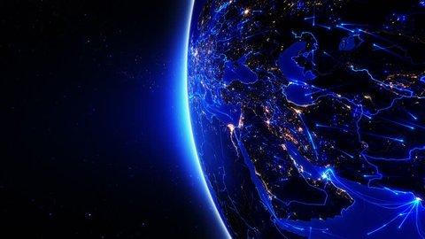 World connections. Middle East. Aerial, maritime, ground routes and country borders. Animation of the Earth with bright connections and city lights. 2 in 1 file. Blue. Images: http://www.nasa.gov.