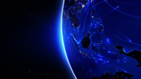 World connections. Southeast Asia. Aerial, maritime, ground routes and country borders. Animation of the Earth with bright connections and city lights. 2 shots in 1 file. Locked and dolly. Blue.