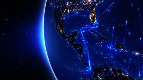 World connections. Central America. Aerial, maritime, ground routes and country borders. Animation of the Earth with bright connections and city lights. 2 shots in 1 file. Locked and dolly . Blue.
