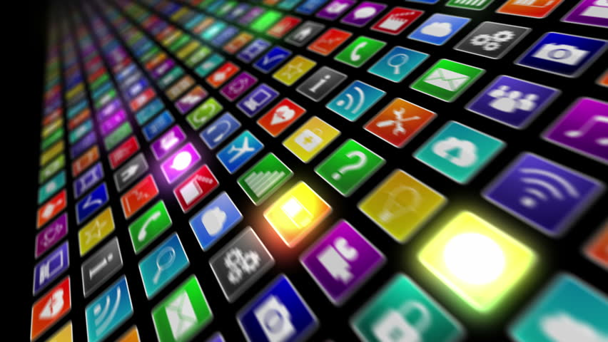 Fly through a wall of computer or mobile application icons. Technology background. More options in my portfolio.