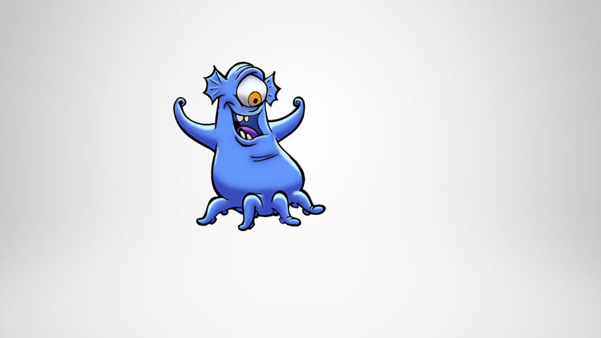 Happy monster jumping. Alpha Matte. Classic animated cheerful monster celebrating and jumping. More options in my portfolio. | Shutterstock HD Video #11739908