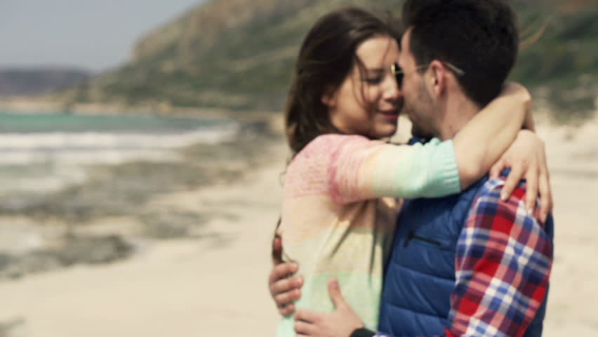 Couple In Love Kissing And Hugging On Beach Slow Motion Shot At 240fps