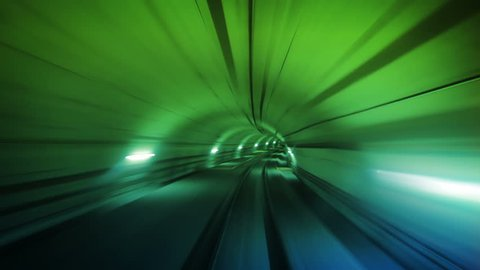 Journey through a tunnel. Loopable. Green.  High speed ride through a colorful tunnel. More colors in my portfolio.